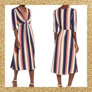 NWT- LEITH multicolored deep V-neck midi dress